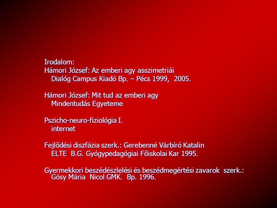 Irodalom: Hámori József: Az emberi agy asszimetriái Dialóg Campus Kiadó Bp. – Pécs 1999, 2005. Hámori József: Mit tud az emberi agy Mindentudás Egyete