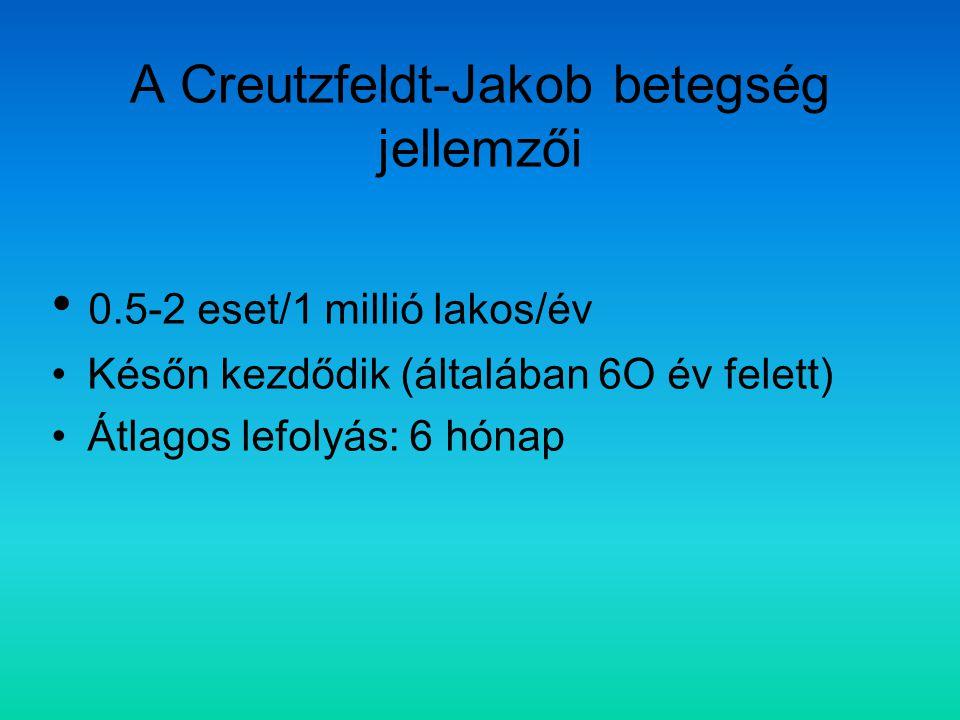 A Creutzfeldt-Jakob betegség jellemzői 0.5-2 eset/1 millió lakos/év Későn kezdődik (általában 6O év felett) Átlagos lefolyás: 6 hónap