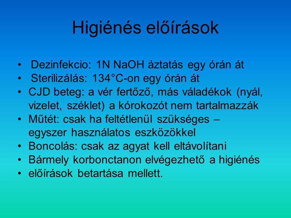 Higiénés előírások Dezinfekcio: 1N NaOH áztatás egy órán át Sterilizálás: 134°C-on egy órán át CJD beteg: a vér fertőző, más váladékok (nyál, vizelet,