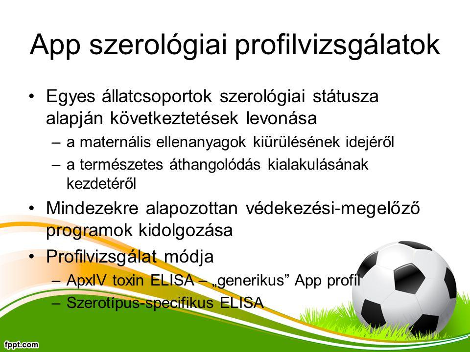 """App szerológiai profilvizsgálatok Egyes állatcsoportok szerológiai státusza alapján következtetések levonása –a maternális ellenanyagok kiürülésének idejéről –a természetes áthangolódás kialakulásának kezdetéről Mindezekre alapozottan védekezési-megelőző programok kidolgozása Profilvizsgálat módja –ApxIV toxin ELISA – """"generikus App profil –Szerotípus-specifikus ELISA"""