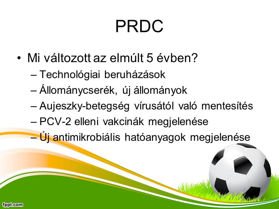 PRDC Mi változott az elmúlt 5 évben? –Technológiai beruházások –Állománycserék, új állományok –Aujeszky-betegség vírusától való mentesítés –PCV-2 elle