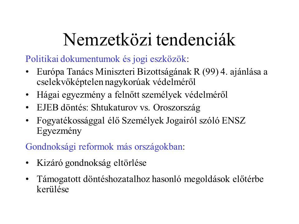 Nemzetközi tendenciák Politikai dokumentumok és jogi eszközök: Európa Tanács Miniszteri Bizottságának R (99) 4.