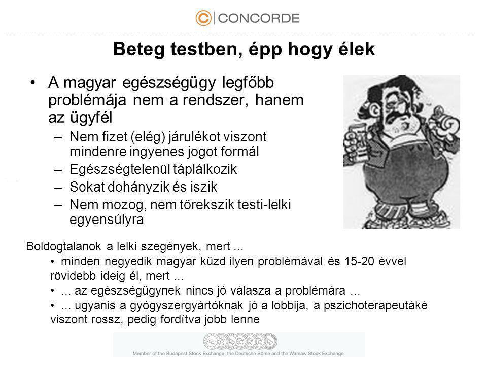 Beteg testben, épp hogy élek A magyar egészségügy legfőbb problémája nem a rendszer, hanem az ügyfél –Nem fizet (elég) járulékot viszont mindenre ingy