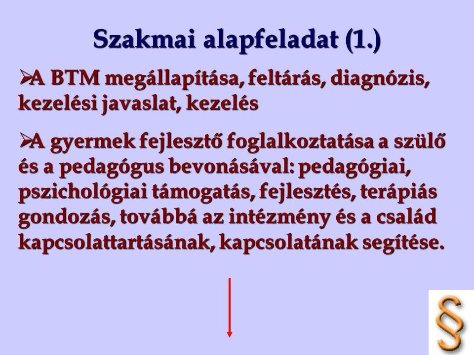 Szakmai alapfeladat (1.)  A BTM megállapítása, feltárás, diagnózis, kezelési javaslat, kezelés  A gyermek fejlesztő foglalkoztatása a szülő és a ped