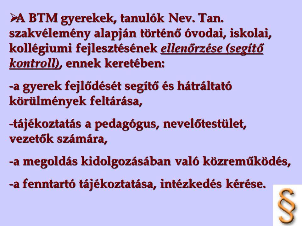  A BTM gyerekek, tanulók Nev. Tan. szakvélemény alapján történő óvodai, iskolai, kollégiumi fejlesztésének ellenőrzése (segítő kontroll), ennek keret