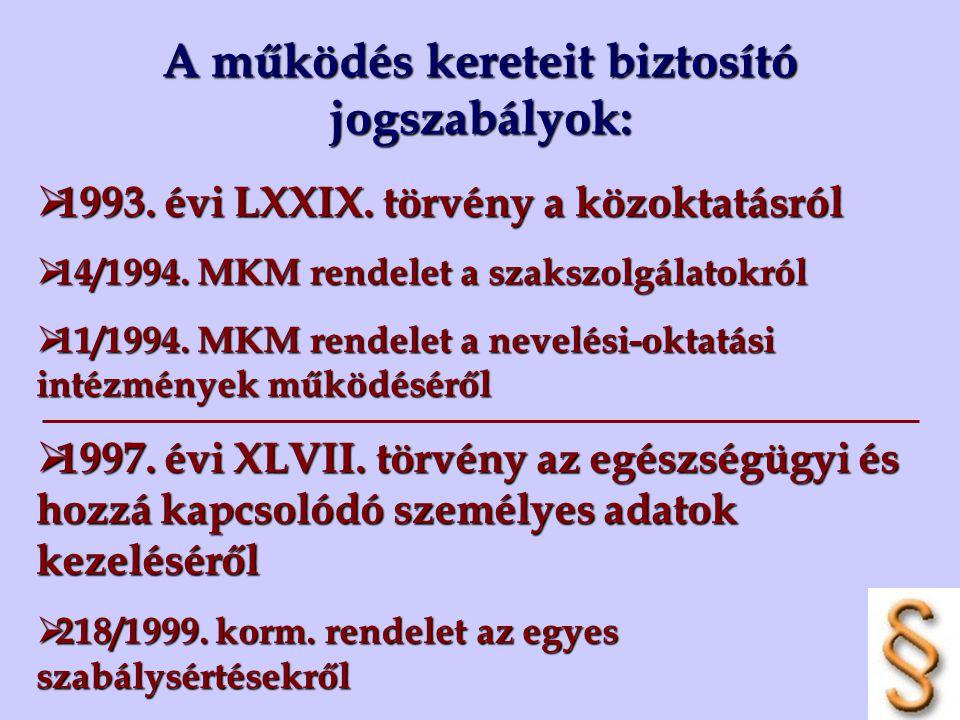 A működés kereteit biztosító jogszabályok:  1993. évi LXXIX. törvény a közoktatásról  14/1994. MKM rendelet a szakszolgálatokról  11/1994. MKM rend