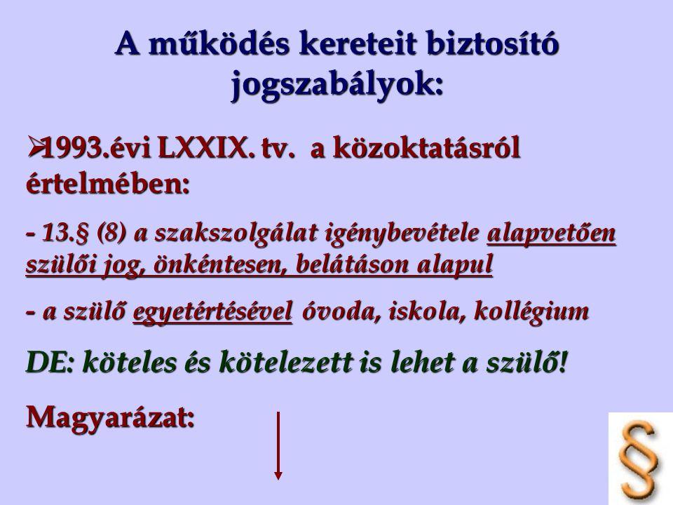 A működés kereteit biztosító jogszabályok:  1993.évi LXXIX. tv. a közoktatásról értelmében: - 13.§ (8) a szakszolgálat igénybevétele alapvetően szülő