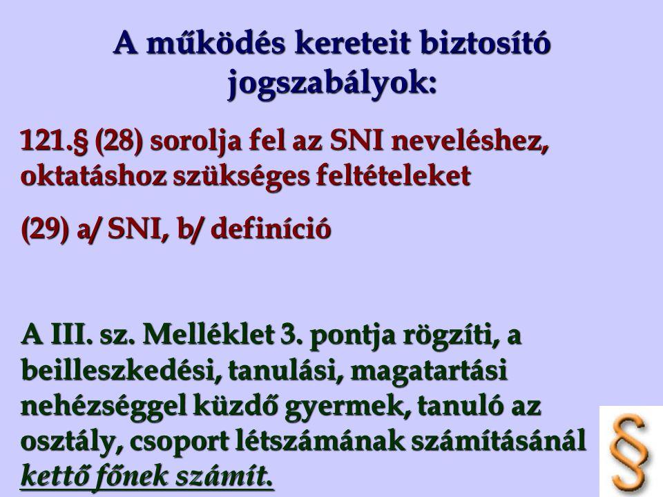 A működés kereteit biztosító jogszabályok: 121.§ (28) sorolja fel az SNI neveléshez, oktatáshoz szükséges feltételeket (29) a/ SNI, b/ definíció A III