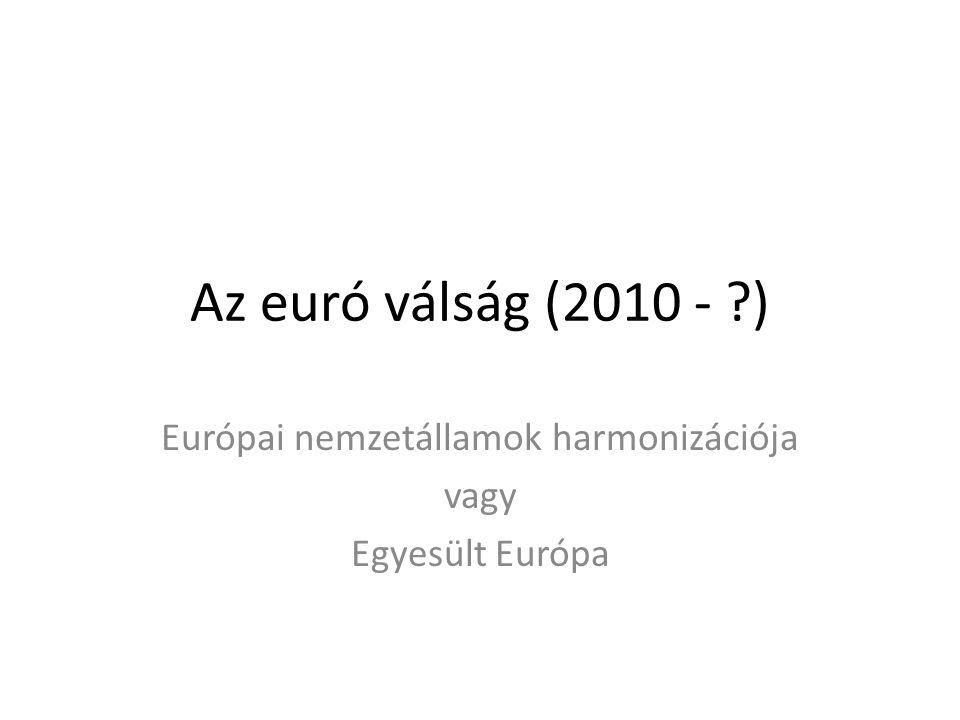 Az euró válság (2010 - ?) Európai nemzetállamok harmonizációja vagy Egyesült Európa