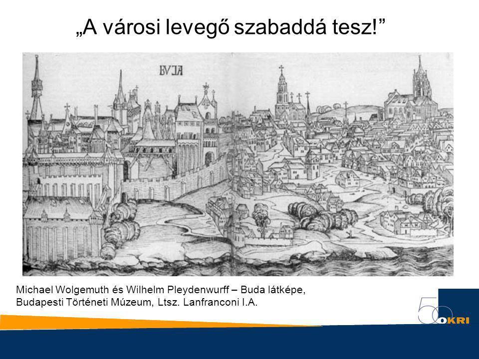 """Michael Wolgemuth és Wilhelm Pleydenwurff – Buda látképe, Budapesti Történeti Múzeum, Ltsz. Lanfranconi I.A. """"A városi levegő szabaddá tesz!"""""""