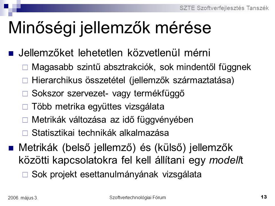 SZTE Szoftverfejlesztés Tanszék Szoftvertechnológiai Fórum 13 2006. május 3. Minőségi jellemzők mérése Jellemzőket lehetetlen közvetlenül mérni  Maga