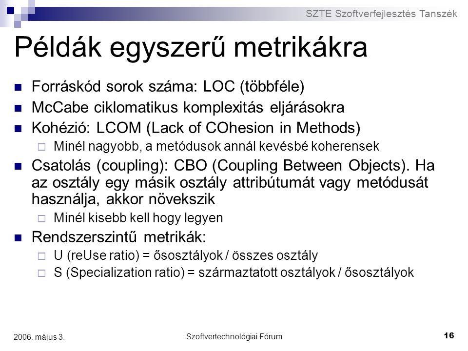 SZTE Szoftverfejlesztés Tanszék Szoftvertechnológiai Fórum 16 2006. május 3. Példák egyszerű metrikákra Forráskód sorok száma: LOC (többféle) McCabe c
