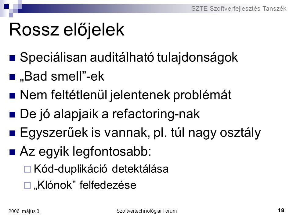 """SZTE Szoftverfejlesztés Tanszék Szoftvertechnológiai Fórum 18 2006. május 3. Rossz előjelek Speciálisan auditálható tulajdonságok """"Bad smell""""-ek Nem f"""