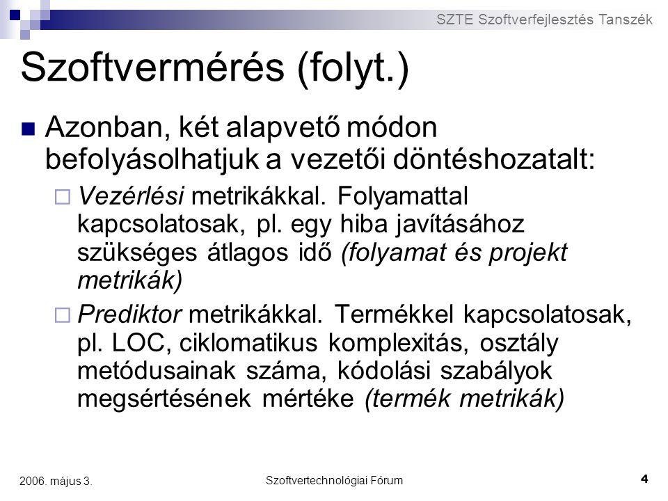 SZTE Szoftverfejlesztés Tanszék Szoftvertechnológiai Fórum 4 2006. május 3. Szoftvermérés (folyt.) Azonban, két alapvető módon befolyásolhatjuk a veze