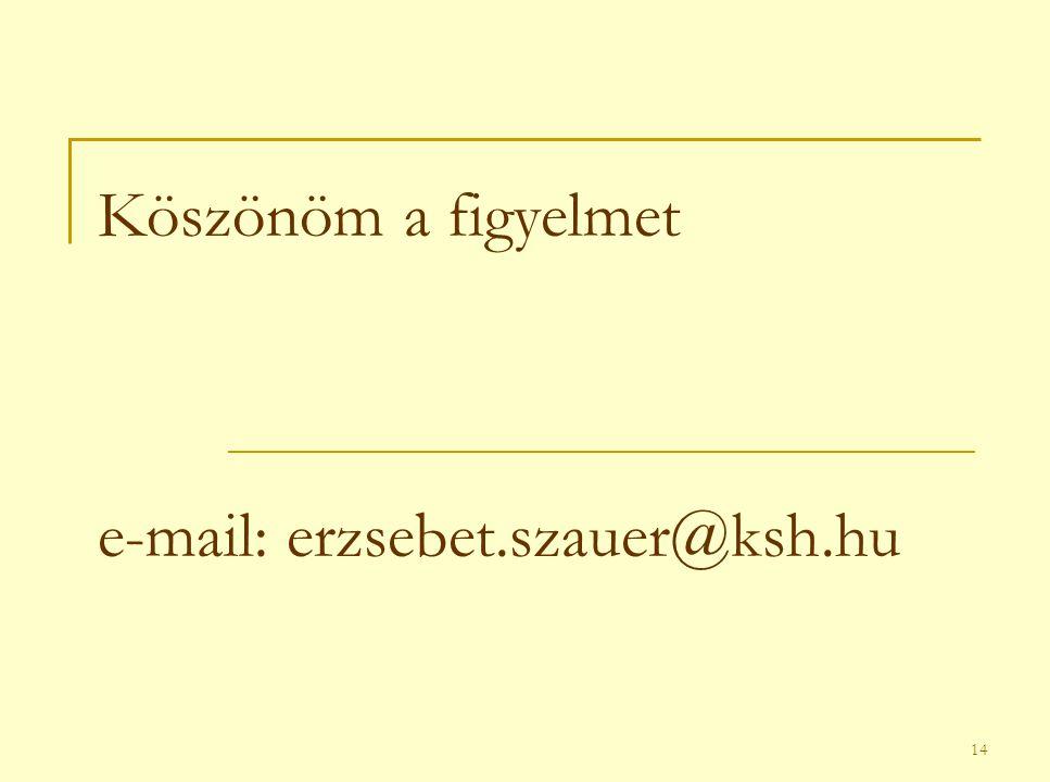 14 Köszönöm a figyelmet e-mail: erzsebet.szauer@ksh.hu