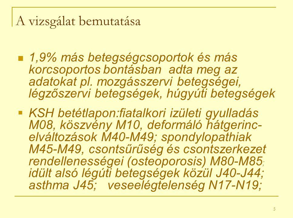 5 A vizsgálat bemutatása 1,9% más betegségcsoportok és más korcsoportos bontásban adta meg az adatokat pl.