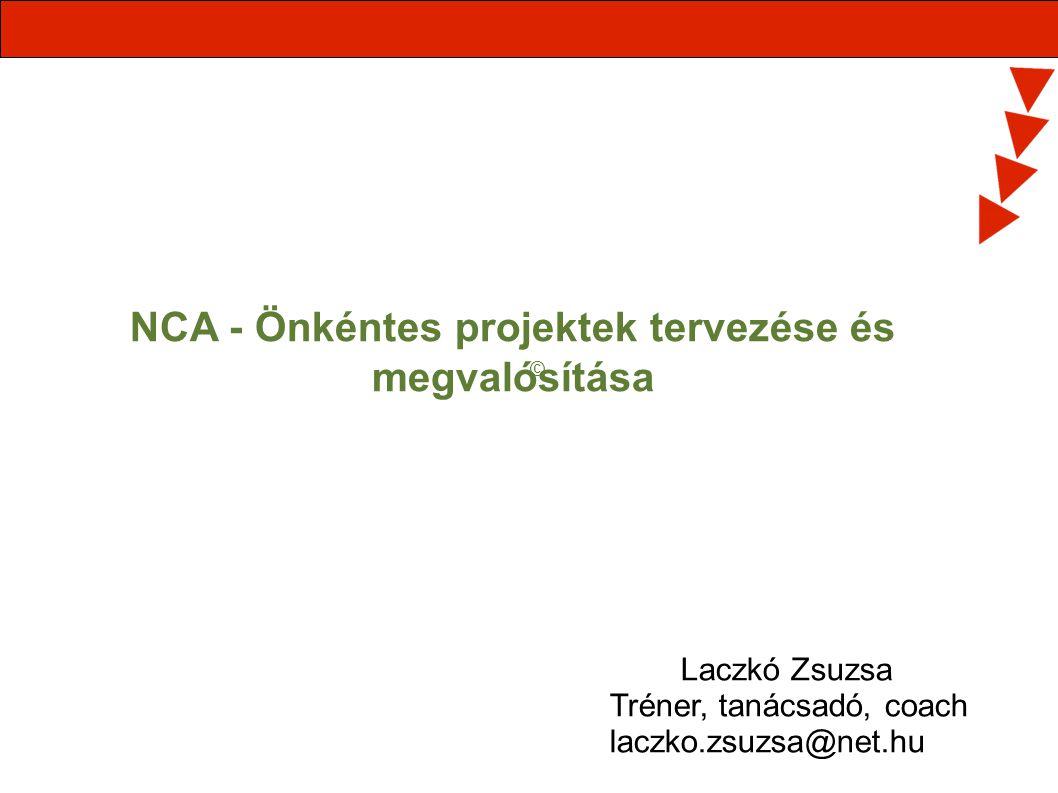 NCA - Önkéntes projektek tervezése és megvalósítása © Laczkó Zsuzsa Tréner, tanácsadó, coach laczko.zsuzsa@net.hu