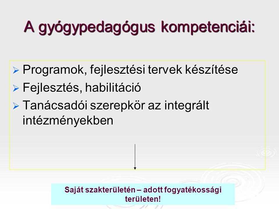 Pedagógiai diagnosztika  a tanulási képesség állapotának, fejlődésének értékelése, a gyermek korábbi életszakaszból való orvosi-pszichológiai dokumentumainak ismerete;  a tanítási tanulási eredményesség elemzése;  a pedagógus saját magatartásának (előítélet, az alkalmazott módszerek kontrollja, beállítódás) vizsgálata; az iskolai, tanulási és a családi környezet minőségének feltárása;  a tanulást megkönnyítő beavatkozási formák.