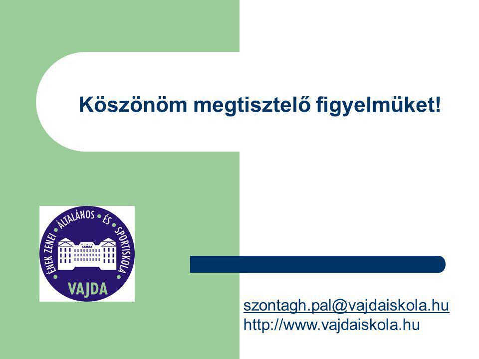 Köszönöm megtisztelő figyelmüket! szontagh.pal@vajdaiskola.hu http://www.vajdaiskola.hu