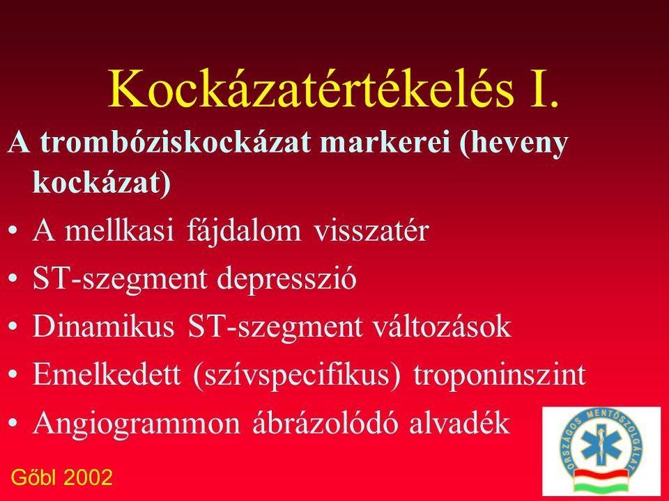 Gőbl 2002 Kockázatértékelés I. A trombóziskockázat markerei (heveny kockázat) A mellkasi fájdalom visszatér ST-szegment depresszió Dinamikus ST-szegme