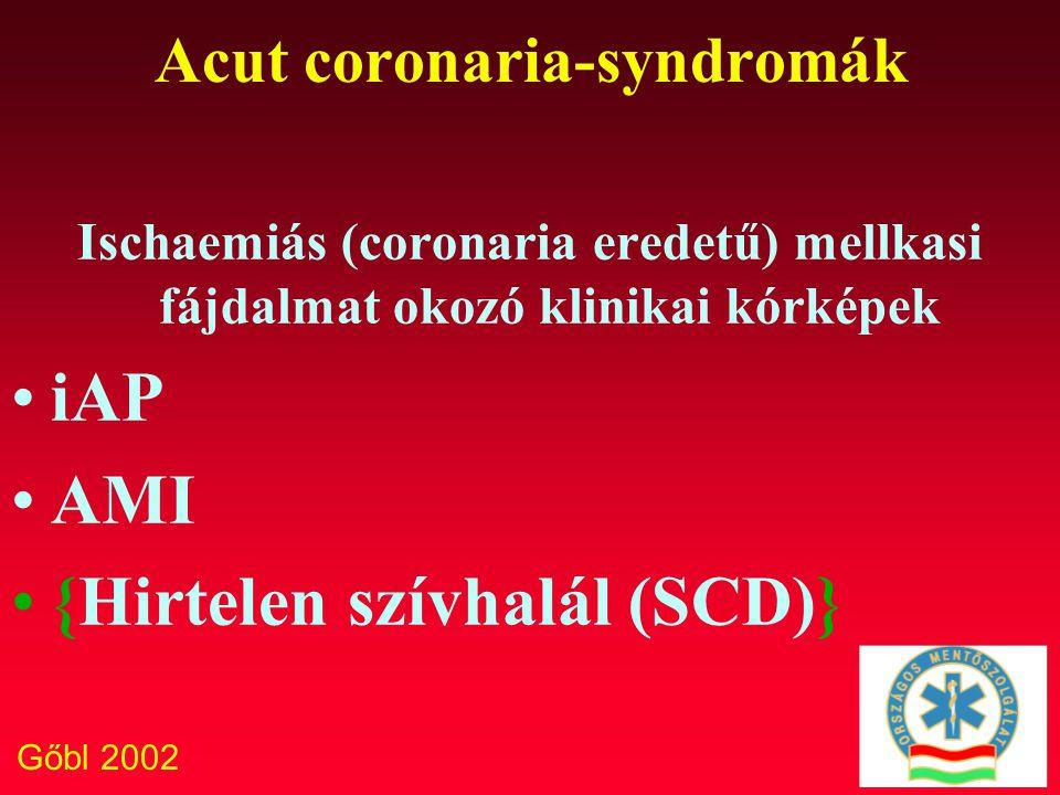 Gőbl 2002 Acut coronaria-syndromák Ischaemiás (coronaria eredetű) mellkasi fájdalmat okozó klinikai kórképek iAP AMI {Hirtelen szívhalál (SCD)}