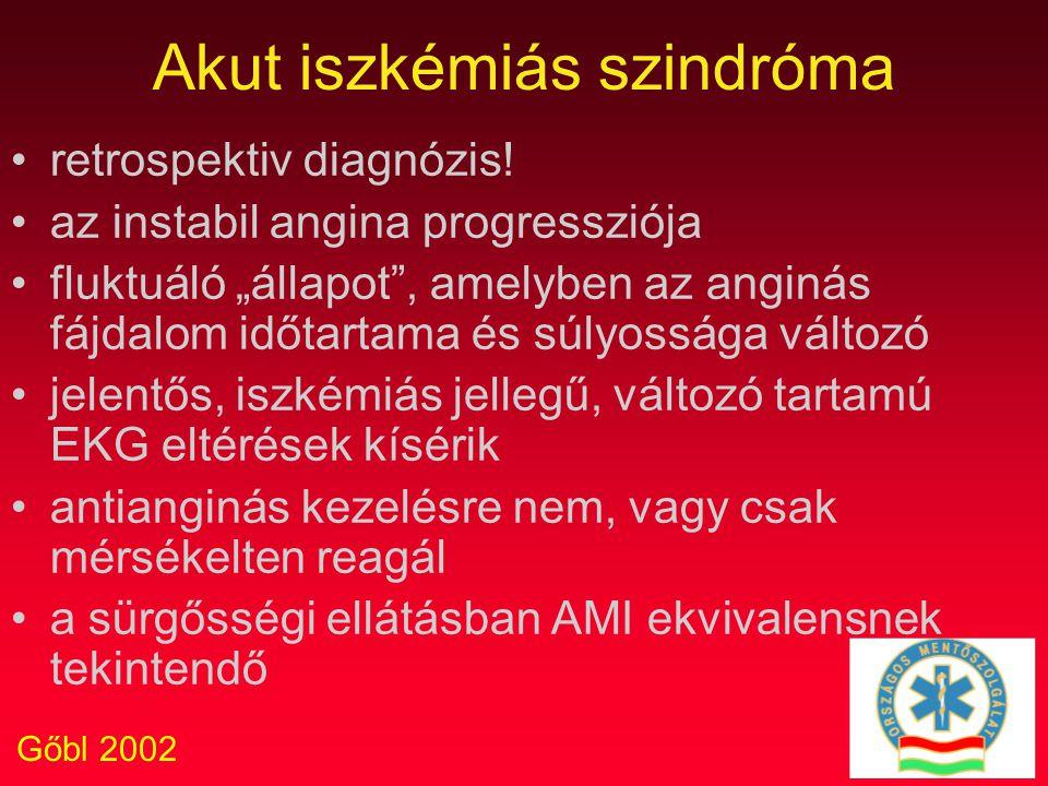 """Gőbl 2002 Akut iszkémiás szindróma retrospektiv diagnózis! az instabil angina progressziója fluktuáló """"állapot"""", amelyben az anginás fájdalom időtarta"""