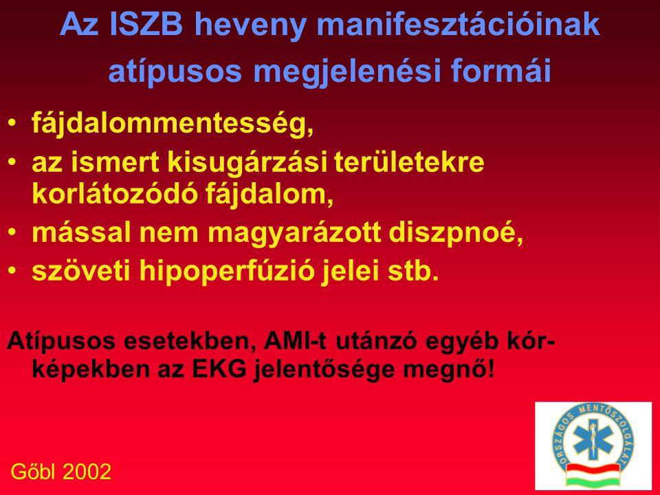 Gőbl 2002 Az ISZB heveny manifesztációinak atípusos megjelenési formái fájdalommentesség, az ismert kisugárzási területekre korlátozódó fájdalom, máss