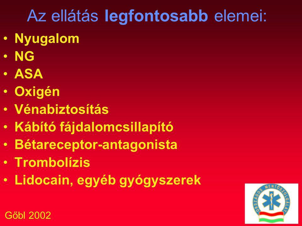 Gőbl 2002 Az ellátás legfontosabb elemei: Nyugalom NG ASA Oxigén Vénabiztosítás Kábító fájdalomcsillapító Bétareceptor-antagonista Trombolízis Lidocai
