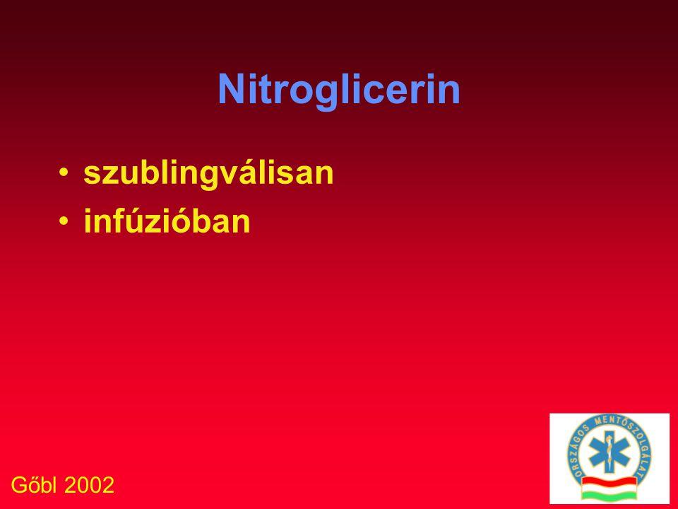 Gőbl 2002 Nitroglicerin szublingválisan infúzióban