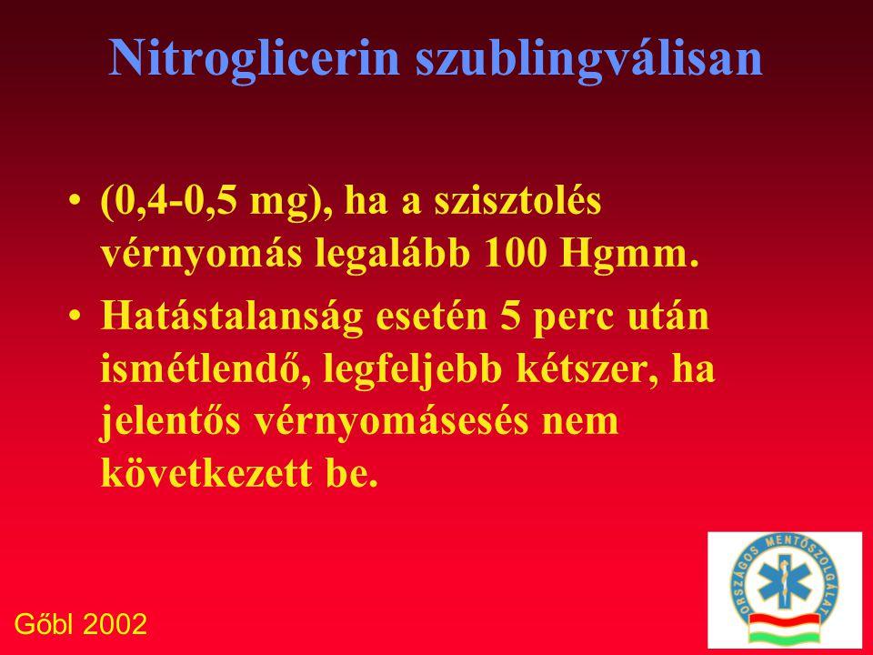 Gőbl 2002 Nitroglicerin szublingválisan (0,4-0,5 mg), ha a szisztolés vérnyomás legalább 100 Hgmm. Hatástalanság esetén 5 perc után ismétlendő, legfel