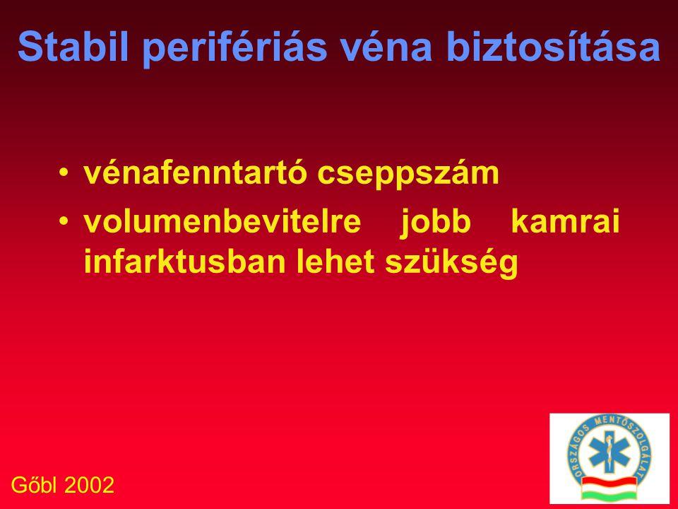 Gőbl 2002 Stabil perifériás véna biztosítása vénafenntartó cseppszám volumenbevitelre jobb kamrai infarktusban lehet szükség