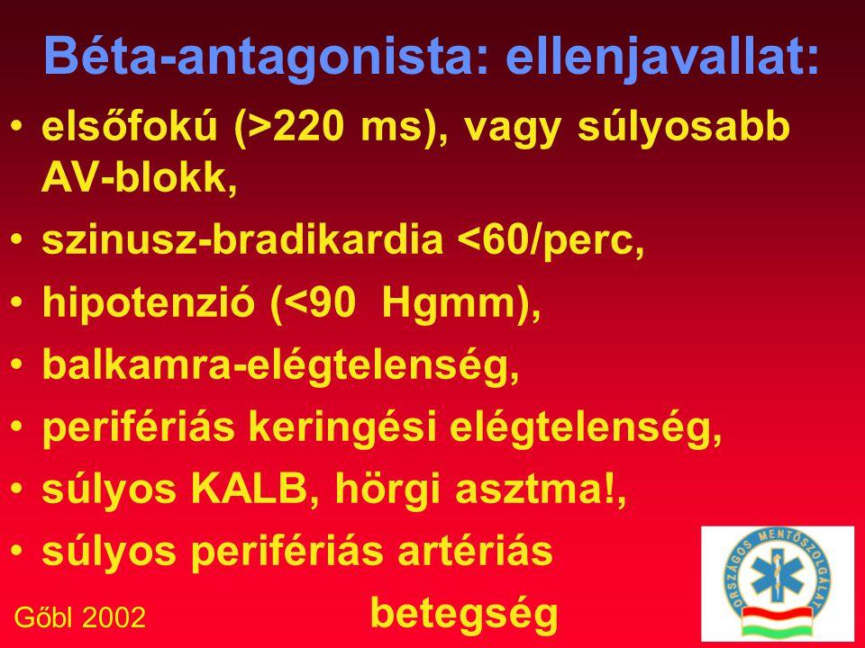 Gőbl 2002 Béta-antagonista: ellenjavallat: elsőfokú (>220 ms), vagy súlyosabb AV-blokk, szinusz-bradikardia <60/perc, hipotenzió (<90 Hgmm), balkamra-