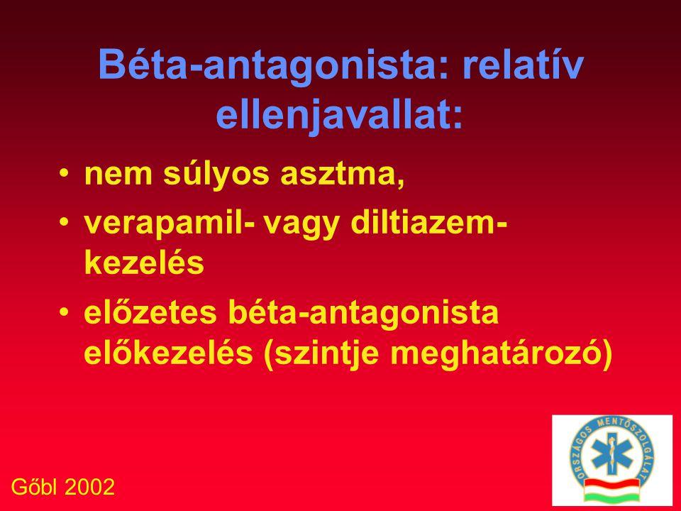 Gőbl 2002 Béta-antagonista: relatív ellenjavallat: nem súlyos asztma, verapamil- vagy diltiazem- kezelés előzetes béta-antagonista előkezelés (szintje
