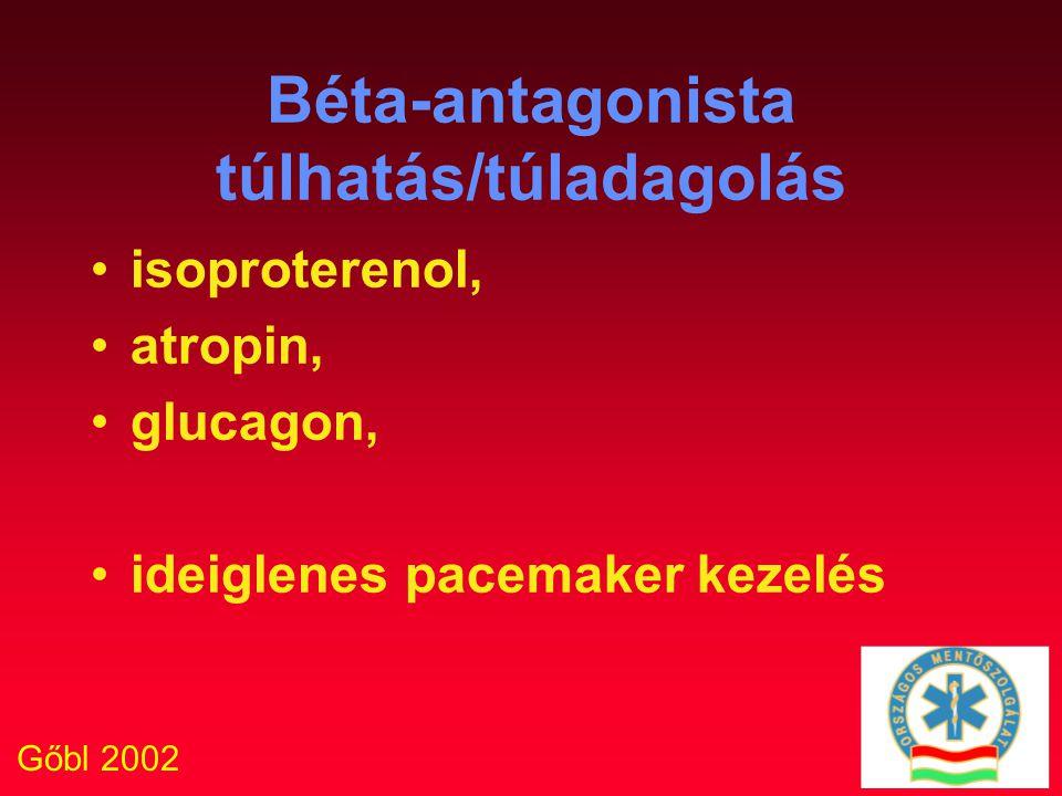 Gőbl 2002 Béta-antagonista túlhatás/túladagolás isoproterenol, atropin, glucagon, ideiglenes pacemaker kezelés