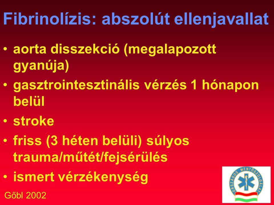 Gőbl 2002 Fibrinolízis: abszolút ellenjavallat aorta disszekció (megalapozott gyanúja) gasztrointesztinális vérzés 1 hónapon belül stroke friss (3 hét