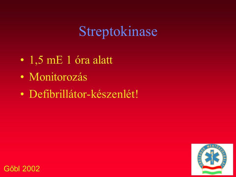 Gőbl 2002 Streptokinase 1,5 mE 1 óra alatt Monitorozás Defibrillátor-készenlét!