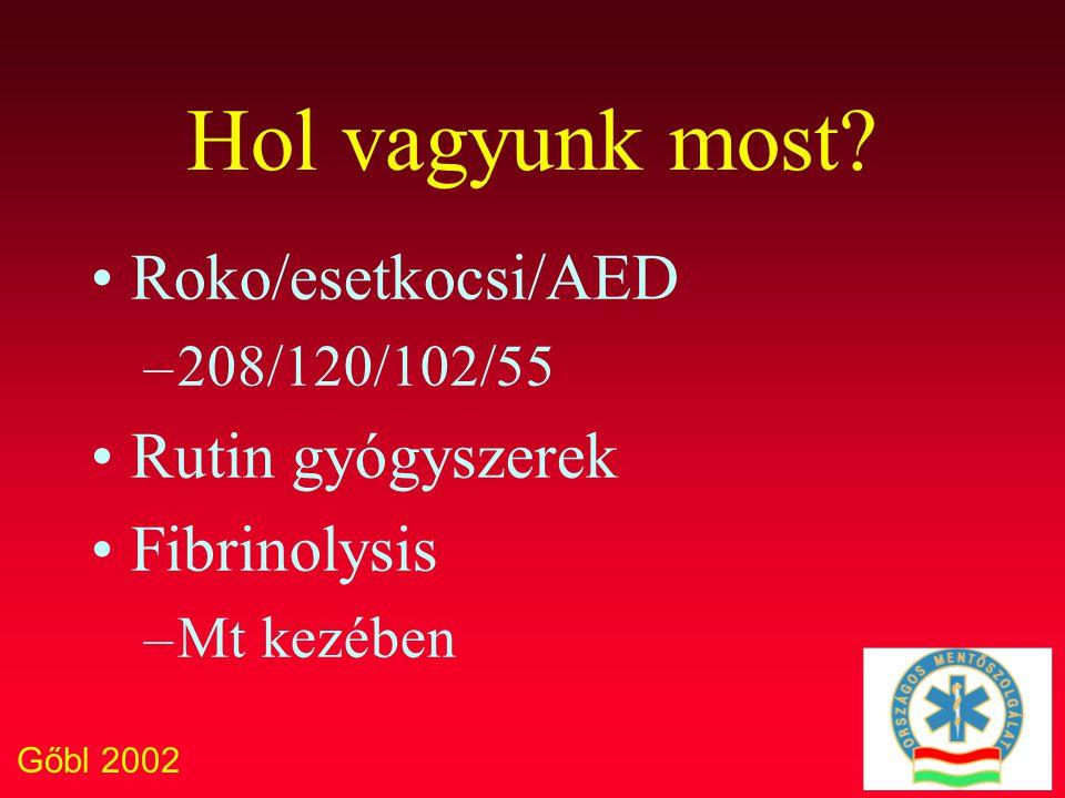 Gőbl 2002 Hol vagyunk most? Roko/esetkocsi/AED –208/120/102/55 Rutin gyógyszerek Fibrinolysis –Mt kezében