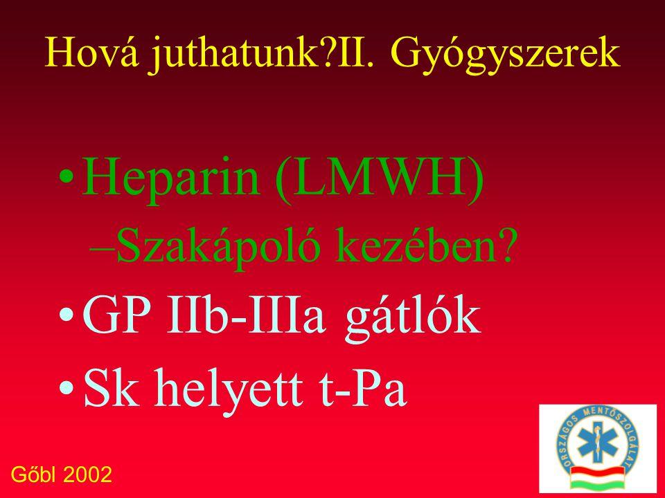 Gőbl 2002 Hová juthatunk?II. Gyógyszerek Heparin (LMWH) –Szakápoló kezében? GP IIb-IIIa gátlók Sk helyett t-Pa
