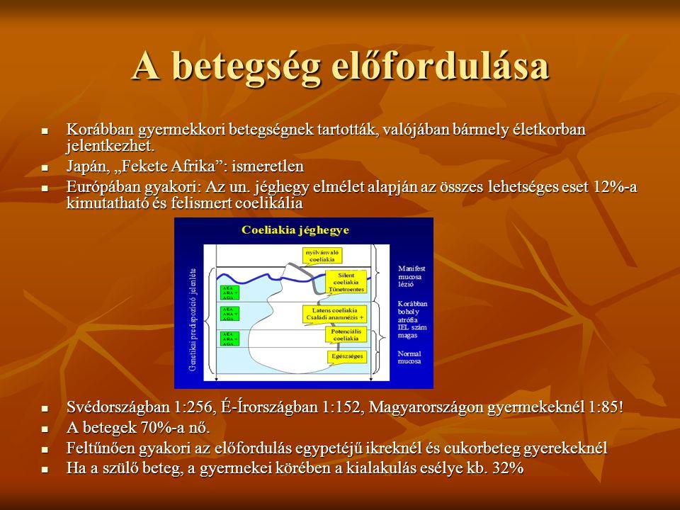 A betegség oka(i) Alapvetően örökletes betegség, de kialakulásában környezeti tényezők is szerepet játszanak, melyek közül a legfontosabb, hogy a táplálékkal glutén, pontosabban annak alkoholban oldódó formája a GLIADIN kerül a szervezetbe, amely antigén-antitest immunválaszt vált ki a vékonybélben az arra érzékenyeknél.
