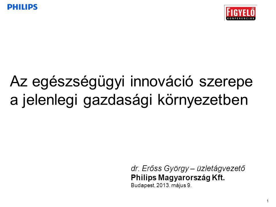 1 dr. Erőss György – üzletágvezető Philips Magyarország Kft. Budapest, 2013. május 9. Az egészségügyi innováció szerepe a jelenlegi gazdasági környeze