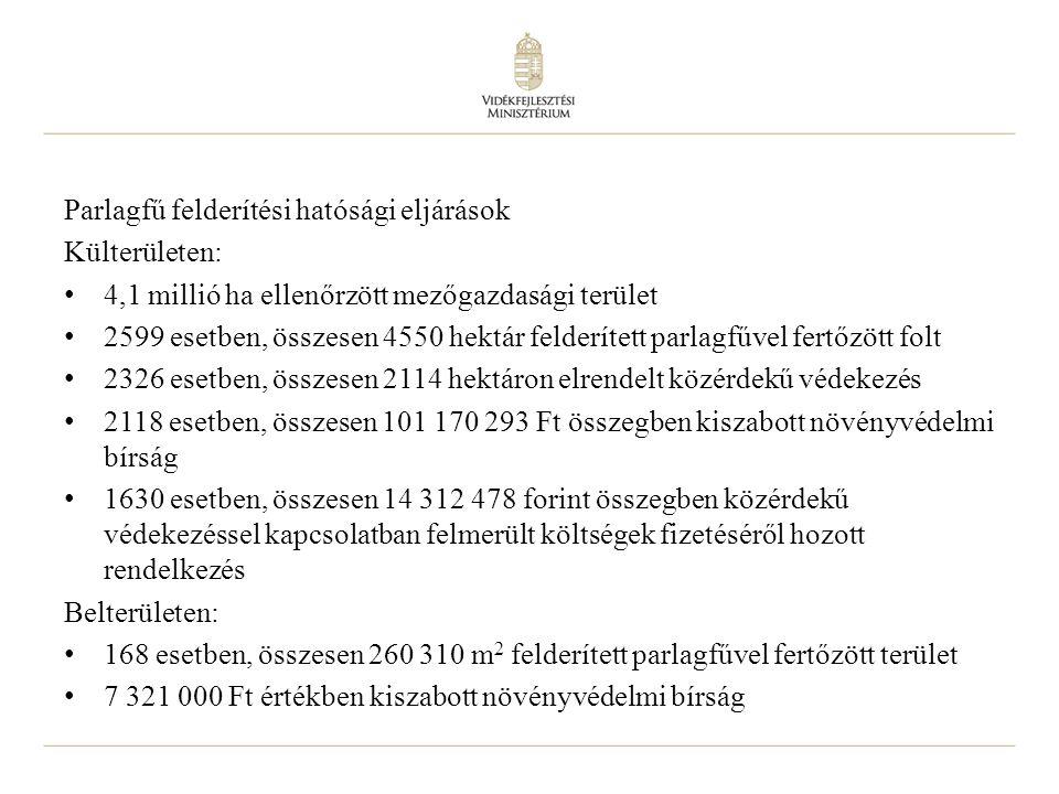 6 Parlagfű felderítési hatósági eljárások Külterületen: 4,1 millió ha ellenőrzött mezőgazdasági terület 2599 esetben, összesen 4550 hektár felderített parlagfűvel fertőzött folt 2326 esetben, összesen 2114 hektáron elrendelt közérdekű védekezés 2118 esetben, összesen 101 170 293 Ft összegben kiszabott növényvédelmi bírság 1630 esetben, összesen 14 312 478 forint összegben közérdekű védekezéssel kapcsolatban felmerült költségek fizetéséről hozott rendelkezés Belterületen: 168 esetben, összesen 260 310 m 2 felderített parlagfűvel fertőzött terület 7 321 000 Ft értékben kiszabott növényvédelmi bírság
