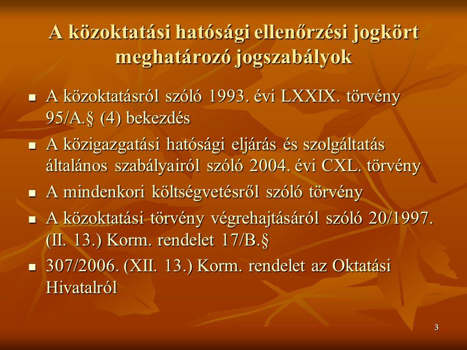 3 A közoktatási hatósági ellenőrzési jogkört meghatározó jogszabályok A közoktatásról szóló 1993. évi LXXIX. törvény 95/A.§ (4) bekezdés A közoktatásr