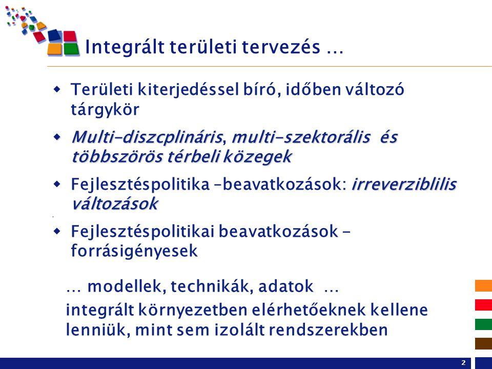 2 Integrált területi tervezés …  Területi kiterjedéssel bíró, időben változó tárgykör  Multi-diszcplinárismulti-szektorális és többszörös térbeli közegek  Multi-diszcplináris, multi-szektorális és többszörös térbeli közegek irreverziblilis változások  Fejlesztéspolitika –beavatkozások: irreverziblilis változások   Fejlesztéspolitikai beavatkozások - forrásigényesek … modellek, technikák, adatok … integrált környezetben elérhetőeknek kellene lenniük, mint sem izolált rendszerekben