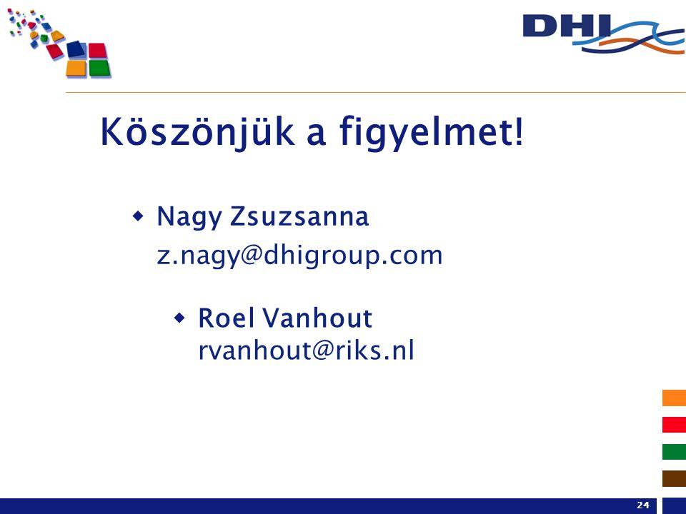Köszönjük a figyelmet!  Roel Vanhout rvanhout@riks.nl  Nagy Zsuzsanna z.nagy@dhigroup.com 24