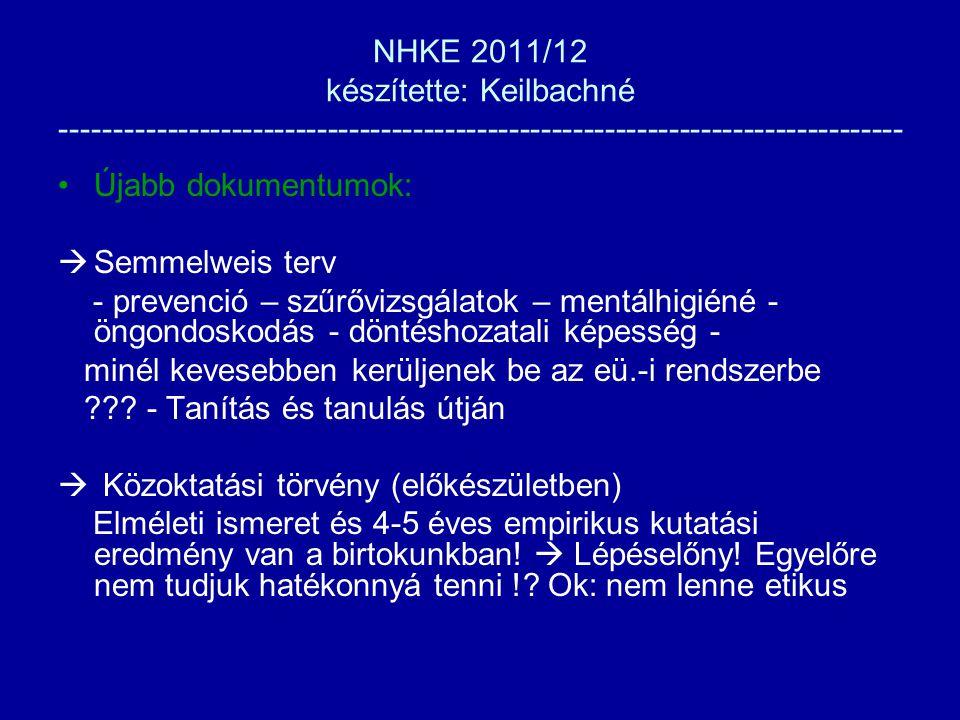 NHKE 2011/12 készítette: Keilbachné ------------------------------------------------------------------------------- Újabb dokumentumok:  Semmelweis terv - prevenció – szűrővizsgálatok – mentálhigiéné - öngondoskodás - döntéshozatali képesség - minél kevesebben kerüljenek be az eü.-i rendszerbe .