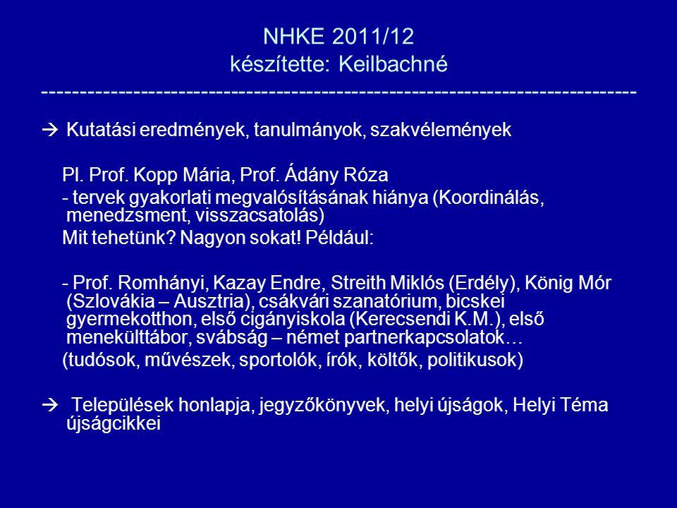 NHKE 2011/12 készítette: Keilbachné -------------------------------------------------------------------------------  Kutatási eredmények, tanulmányok, szakvélemények Pl.