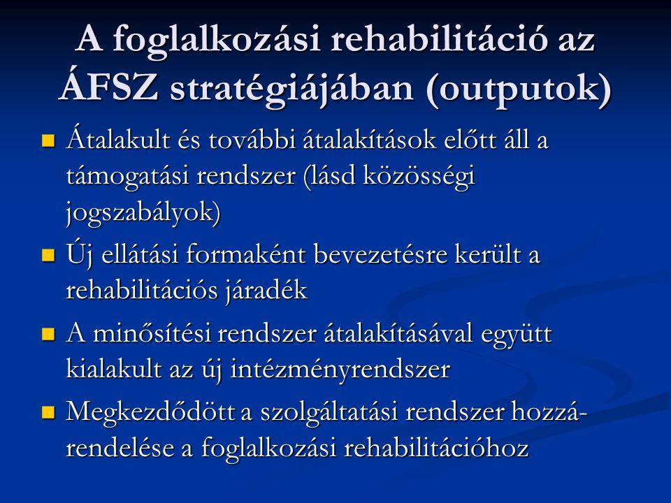 A foglalkozási rehabilitáció az ÁFSZ stratégiájában (outputok) Átalakult és további átalakítások előtt áll a támogatási rendszer (lásd közösségi jogsz