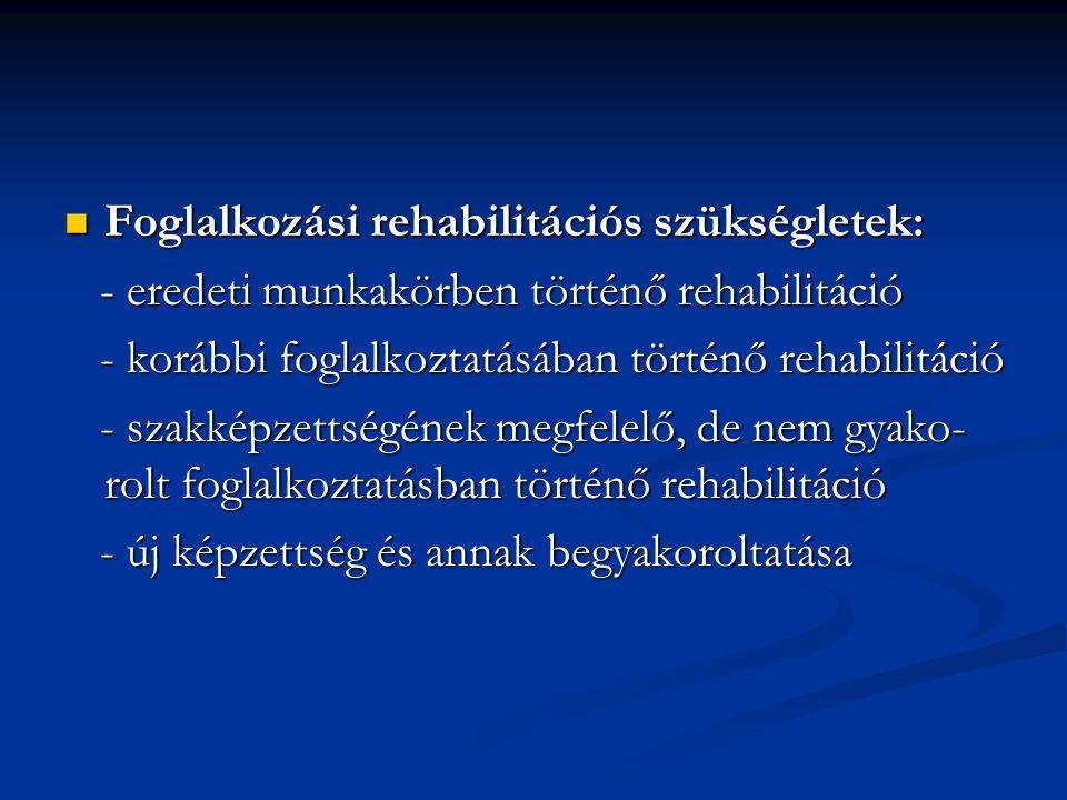 Foglalkozási rehabilitációs szükségletek: Foglalkozási rehabilitációs szükségletek: - eredeti munkakörben történő rehabilitáció - eredeti munkakörben történő rehabilitáció - korábbi foglalkoztatásában történő rehabilitáció - korábbi foglalkoztatásában történő rehabilitáció - szakképzettségének megfelelő, de nem gyako- rolt foglalkoztatásban történő rehabilitáció - szakképzettségének megfelelő, de nem gyako- rolt foglalkoztatásban történő rehabilitáció - új képzettség és annak begyakoroltatása - új képzettség és annak begyakoroltatása
