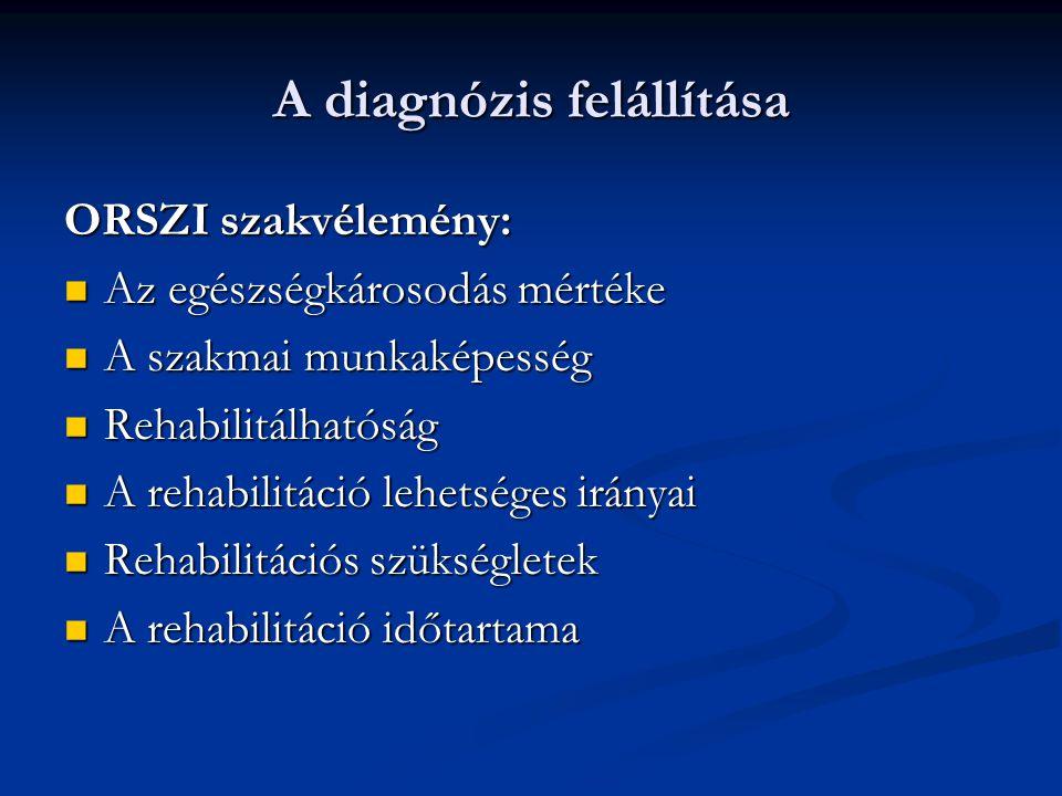 A diagnózis felállítása ORSZI szakvélemény: Az egészségkárosodás mértéke Az egészségkárosodás mértéke A szakmai munkaképesség A szakmai munkaképesség Rehabilitálhatóság Rehabilitálhatóság A rehabilitáció lehetséges irányai A rehabilitáció lehetséges irányai Rehabilitációs szükségletek Rehabilitációs szükségletek A rehabilitáció időtartama A rehabilitáció időtartama