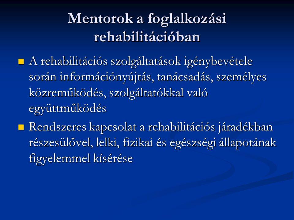 Mentorok a foglalkozási rehabilitációban A rehabilitációs szolgáltatások igénybevétele során információnyújtás, tanácsadás, személyes közreműködés, sz
